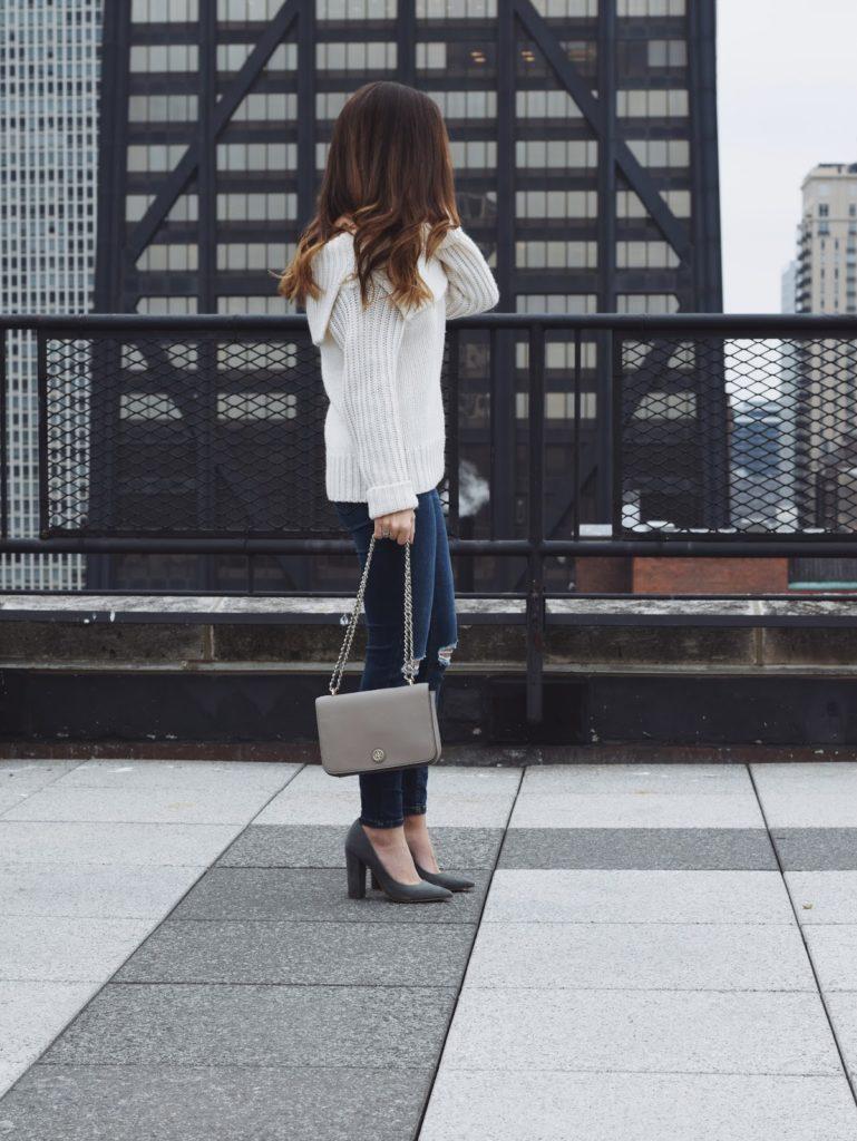 off the shoulder sweater, block heels