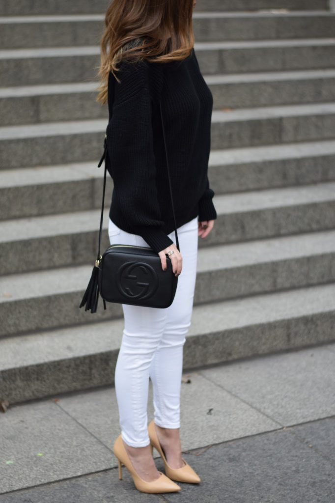 v back sweater, white jeans, nude pumps