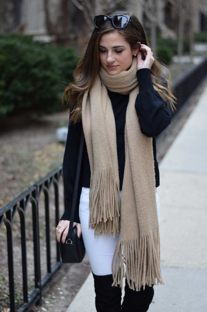 over the knee boots, fringe scarf, white jeans